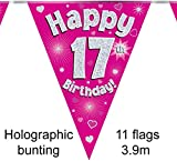 Happy 17th Birthday Pink Holographic Foil Party Bunting 3.9m Long 11 Flags