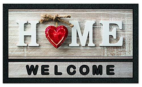 De'Carpet Felpudo Entrada Casa Fotográfico Original Divertido Moderno Flocado Home Corazón