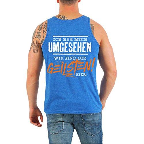 Männer und Herren Trägershirt MALLE Ballermann Party - Wir sind die Geilsten ORANGE (mit Rückendruck) Royalblue