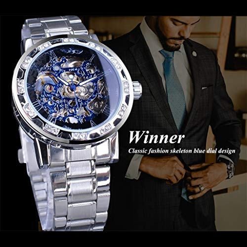 Orologio da polso uomo-TianranRT★ T-WINNER Fashion Hollow Luxury Design Business Fashion Orologio meccanico da uomo Nuova moda Impermeabile semplice,Blu