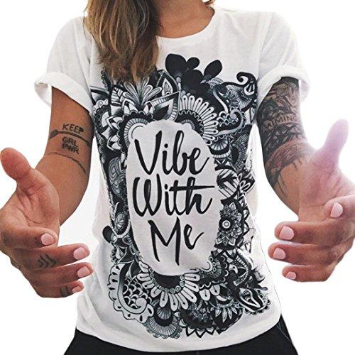 Ularma Damen Sommer Baumwolle T-Shirt Cool Buchstaben Bluse Kurzarm (38, weiß)