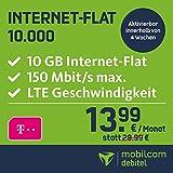 mobilcom-debitel Internet-Flat 10.000 im Telekom-Netz (13,99 EUR monatlich, 24 Monate Laufzeit, 10 GB Internet-Flat, LTE mit max. 150 MBit/s, EU-Roaming-Flat, Triple-Sim-Karten)