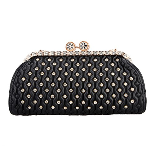 Bonjanvye Crystal Kiss Lock Pu Leather Purses and Handbags for Women's Clutch Bag Black (Kiss Lock Handbag)