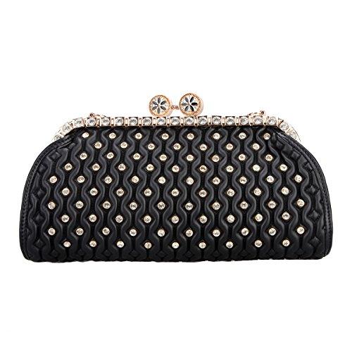 Bonjanvye Crystal Kiss Lock Pu Leather Purses and Handbags for Women's Clutch Bag Black