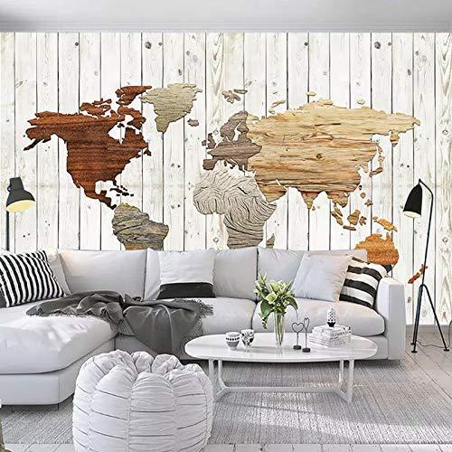 YBHNB 3D Europäischen Minimalistischen Holz Textur Karte Der Welt Coffee Shop Grüner Tee Snacks Tv Hintergrund Tapeten Murals-400X280Cm (Die Größe Der Familie Grüner Tee)