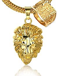 """Halukakah KINGS LANDING Men's 18k Real Gold Plated 3D Lion Pendant Necklace RICH Ring Set,with FREE SharkTail Chain 30"""""""