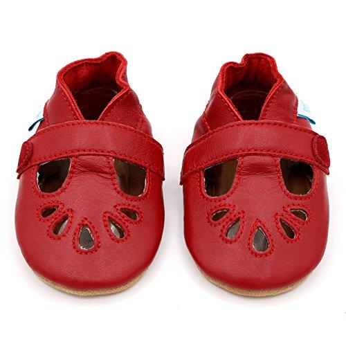 Dotty Fish Weiche Baby Lederschuhe. Klassisches Rot T-Bar Schuhe für Mädchen. rutschfeste Wildledersohlen. 6-12 Monate (19 EU)