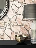 Steintapete Vlies Natur Bruchstein | schöne edle Tapete im Steinmauer Design | moderne 3D Optik für Wohnzimmer, Schlafzimmer oder Küche inklusive der Newroom-Tapezier-Profibroschüre mit super Tipps!