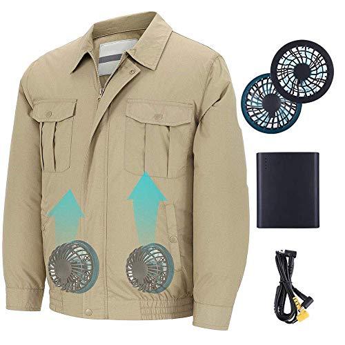 Ausgestattet Khaki (Dovlen Unisex Arbeitsbekleidung Jacke Kleidung Ausgestattet Kühlerlüfter für den Sommer Außen Klimatisiert - Khaki, 3XL)