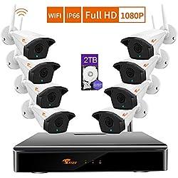 CORSEE Système De Vidéosurveillance sans Fil,1080P 8CH NVR+8 Caméra Système de Sécurité Caméra Exterieur,1080P Full HD,avec Fonction Audio,Détection de Mouvement,2To Disque Dur