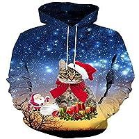 Navidad Print Sweater otoño - Invierno de Europa y America Hombres 3D Digital Print Hoodie Sweater,M