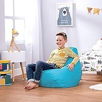 Bean Bag Bazaar, Aqua Blue, Kids Gaming Chair, Large, 69cm x 59cm-Indoor Outdoor Bean Bags for Children, 1 Pack