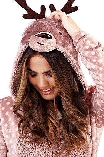 Damen Onesie / einteiliger Schlafanzug mit 3D-Ohren, Moose - 3