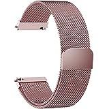 Fullmosa Milanese 22mm Uhrenarmband, Milanese Smart Watch Armand Ersatzband mit Edelstahl Magnet-Verschluss für 22mm Rosa