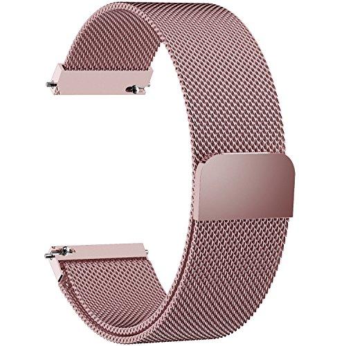 Fullmosa 22mm Uhrenarmband, Smart Watch Armand Ersatzband mit Edelstahl Magnet-Verschluss für 22mm Rosa