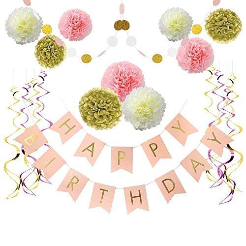 (Jekind Papier Blume Party Home Decoration, Rosa und Gold Happy Birthday Banner, Pom Poms Blumen Kit, hängenden Wirbel für 1 Geburtstag Dekorationen, Baby Mädchen Geburtstag Dekorationen)
