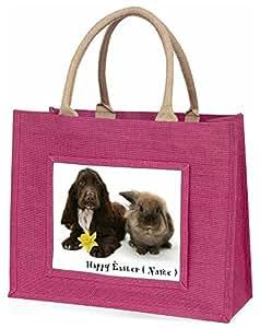 Advanta Persönlicher Animal Geschenk große Einkaufstasche/Weihnachtsgeschenk, Jute, pink, 42x 34,5x 2cm