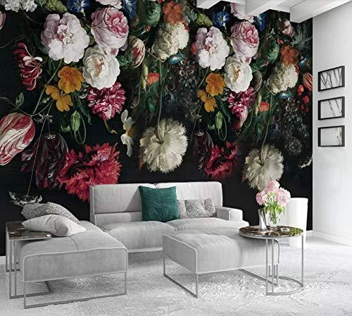 Fototapete 3D Effekt Tapete Floral Retro-Nostalgie Vliestapete 3D Wallpaper Moderne Wanddeko Wandbilder