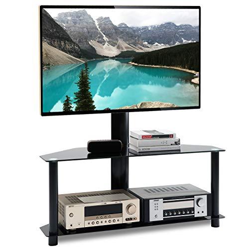 RFIVER Universal TV Ständer Standfuß Möbel Schwenkbar Höhenverstellbar für 32-55 Zoll mit 2 Glas Regalen Schwarz TW1001 - 2 Regal Breit Tv-ständer