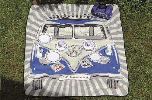 VW Bulli Samba Stripes Picknickdecke mit Tragetasche, Blau - KUKBUPB02 (Samba Stripe)