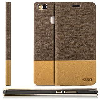 zanasta Tasche kompatibel mit Huawei P9 Lite (VNS-L31) mit Kartenfach Hülle Flip Case Slim Schutzhülle Handytasche, Standfunktion | Hellbraun