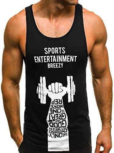 OZONEE Mix Herren Tanktop Tank Top Tankshirt T-Shirt Print Unterhemden Ärmellos Weste Muskelshirt Fitness B/181114 Schwarz-Weiß M (Casual Tank-top)
