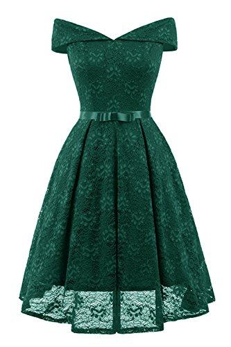 KAXIDY Elegant Cocktailkleid Spitzenkleid Partykleider Kleider Abendkleid Rockabilly Kleider (Grün,...