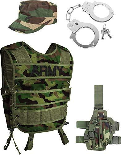 Army Woodland Kostüm Unisex bestehend aus taktischer Weste + Army Patch, Rip-Stop Cap und Handschellen [S-3XL] Größe L