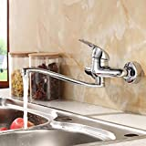 XPYFaucet Wasserhahn Armatur Mischbatterie Küche warme und kalte Kupfer-Wand-Doppelwaschbecken aus Kupfer, Mop-Pool, drehendes Bad