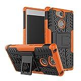 bagmaxx Sony Xperia XA2 Outdoor Case Tyre Rutschfest Kickstand Reifen Profil Handy Hülle Cover Bag Trekking Orange/Schwarz