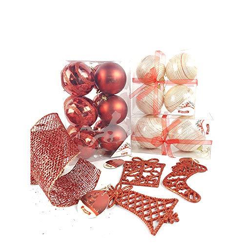 GENERAL TRADE Addobbo Natalizio Sfera Natalizia pelosetta Shabby Chic con Merletto 10 pz Palle per Albero di Natale Ornamento Decorazione Albero di Natale Ghirlanda