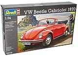 VW Volkswagen Käfer Cabrio 1970Rot Offen Bausatz Kit 1/24Revell Modell Auto mit oder ohne individiuellem Wunschkennzeichen