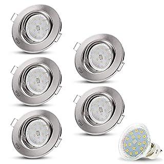 LED Einbaustrahler Schwenkbar DECORO Rund (Matt-Chrom) Inkl. 5 X 4W LED Warmweiss 230V IP20 Deckenstrahler Einbauleuchte Deckeneinbaustrahler Einbauspot Deckeneinbauleuchte Deckenspot Drehbar