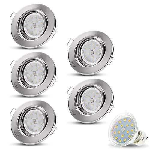 Decoro - Foco encastrable con luz LED (230 V LED, 4 W blanco cálido, GU10 (15 cm cable de conexión), versión SMD, acero inoxidable cepillado)