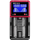 Evary H2 Intelligent Battery Charger For Li-Ion Ni-MH LiFePO4 Batteries 18650 18490 26650 AAA AA C With LCD Panel Display