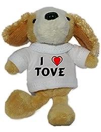 Perro de peluche (llavero) con Amo Tove en la camiseta (nombre de pila/apellido/apodo)