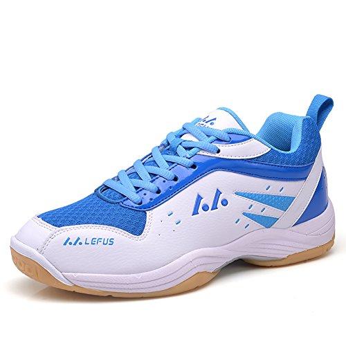 ASHION Damen Hallensportschuhe/Badminton-Schuhe Herren Squashschuhe Herren Badminton Schuhe Kinder Leicht Sportschuhe Turnschuhe (38 EU, Weiß)
