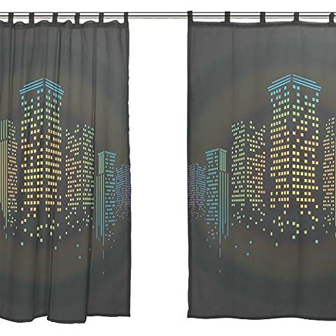 jstel 2Pcs Voile Fenster Vorhang, Night City Bling Light, Tüll Sheer Vorhang Tuch Querbehang 139,7x 198,1cm Zwei scheibenelementen Set
