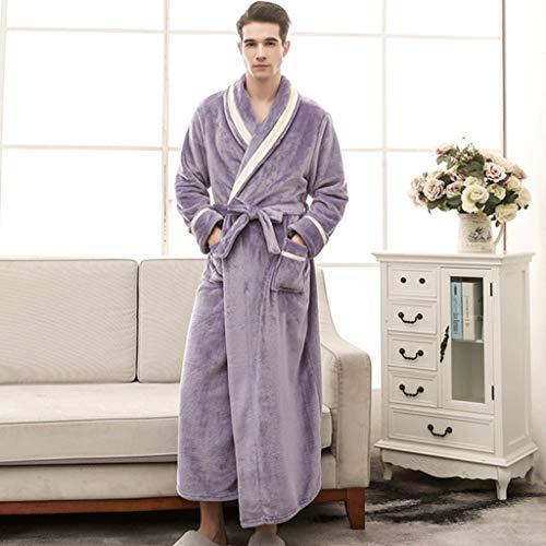 LIUY Luxuriöse Männer Bademantel, Schal Langarm Leichte Kragen Coral Fleece Super Soft Bequeme, warme Bademäntel for Männer oder Jungen (Color : Green, Size : L)