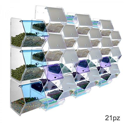 Portacaramelle o granelle in plexiglass trasparente e colorato con 21 contenitori