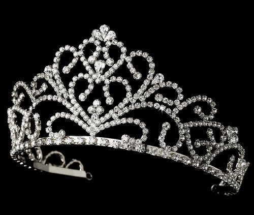 Laure Royal Rhinestone Wedding, Quinceanera, Sweet 16, Pageant Tiara (silver) by Fairytale Bridal Tiara