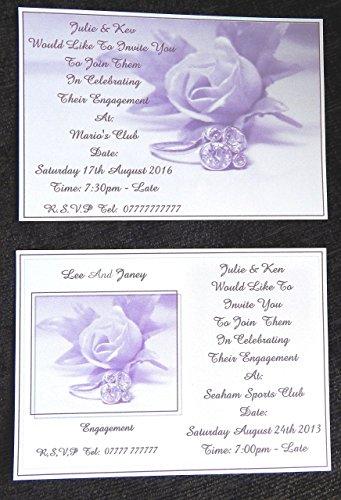 25, 50, 75 oder 100 x Persönliches Engagement Einladungen Design (B) 2 florale Designs & 2 Farben Dusky Lila oder Dusky Blue aus mit kostenlosen Umschläge zu wählen