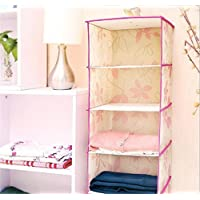 Denshine Colgando almacenaje de la ropa con 5 baldas de no tejidas /Non-woven five layers Hanging Shelf Wardrobe Storage Clothing Shelves Closet