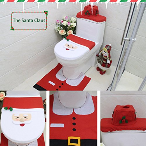 Gugutogo Christmas Decorations Elf Deer Santa Claus Toilet Seat Cover Ornament For Home (Elf Santas Christmas)