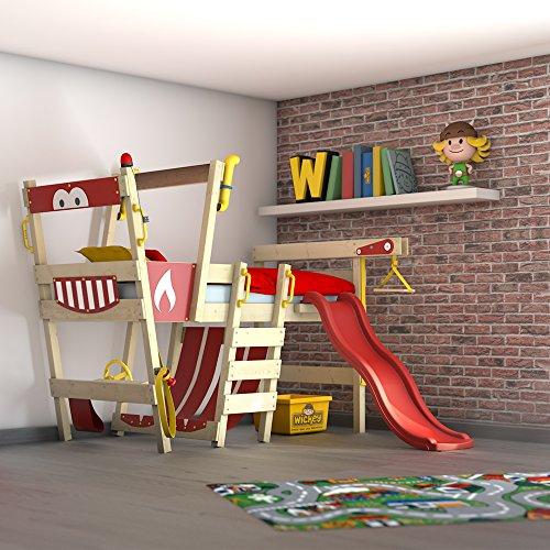 Rutsche CrAzY Smoky Kinderbett 90 x 200 Spielbett Kinder mit Lattenboden und viel Zubehör, Feuerwehrbett, rote Plane + rote Rutsche (Jungen Hochbett Mit Rutsche)