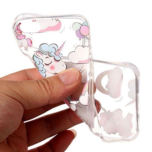 Per iPhone 5 / 5S / SE Cover , YIGA arcobaleno unicorno Trasparente Silicone Morbido TPU Case Shell Protezione Custodia per Apple iPhone 5 / 5S / SE WM111