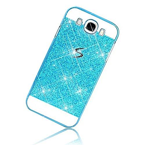 Sunroyal Samsung Galaxy J5 (2016) J5108 Dual LTE Handy Hülle Schutz Bling Hart Case Harte Glitzer Diamant Luxus Gel Crystal Kristall Zurück Hard Back Cover Rückseite, Blau Blue
