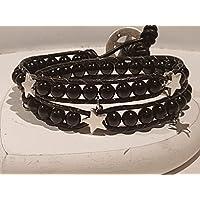 Wickelarmband 2-fach schwarzer Achat mit Sternchen, Charms, Bettelarmband, Perlen