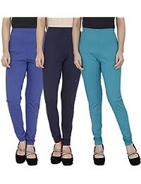 Anekaant Cotton Lycra Women's Legging Pack of 3 (Royal Blue, Navy Blue, Rama Green)