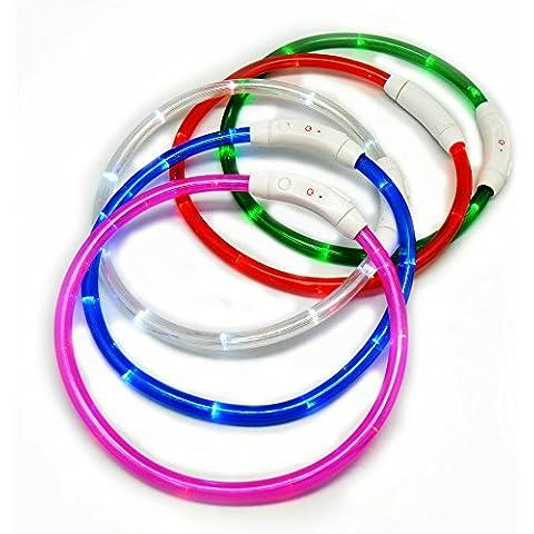 Digifunk® Collare LED, ricaricabile USB, tagliata su misura personalizzato!, taglia unica, 70 cm, batterie non necessarie, cintura di sicurezza regolabile a Fascia lampeggiante luce lampeggiante, forma di gatto piccola, media e grande